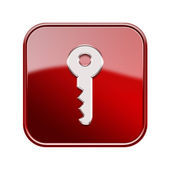 Key icon glossy red, isolated on white background — Stock Photo