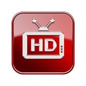 Tv simgesi parlak kırmızı, beyaz zemin üzerine izole — Stok fotoğraf