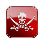 Pirate icon glossy red, isolated on white backround — Stock Photo