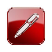 Pen icon glossy red, isolated on white background — Stock Photo