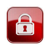 Lock icon glossy red, isolated on white background — Stock Photo