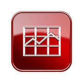 Graph icon glossy red, isolated on white background. — Stock Photo