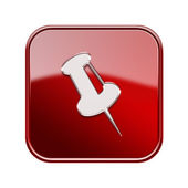 Szpilka ikony błyszczący czerwony, na białym tle. — Zdjęcie stockowe