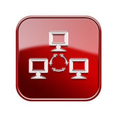 Network icon glossy red, isolated on white background. — Stock Photo