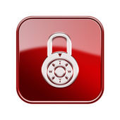 Lock off icon glossy red, isolated on white background. — Stock Photo