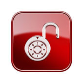Lock on icon glossy red, , isolated on white background. — Stock Photo