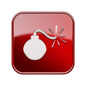 Bomb icon glossy red, isolated on white background — Stock Photo