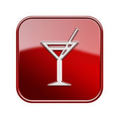 Wineglass icon glossy red, isolated on white background. — Stock Photo