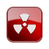 Radioactive icon glossy red, isolated on white background. — Stock Photo