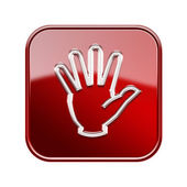 Dłoń ikony błyszczący czerwony, na białym tle — Zdjęcie stockowe