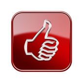 Thumb up icon glossy red, isolated on white background — Stock Photo