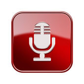 Microphone icon glossy red, isolated on white background — Stock Photo