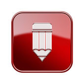 Pencil icon glossy red, isolated on white background — Stock Photo