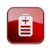 Battery icon glossy red, isolated on white background — Stock Photo