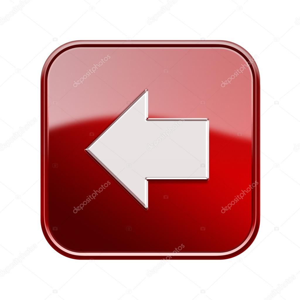 Arrow left icon glossy red, isolated on white background  Stock Photo #16796887