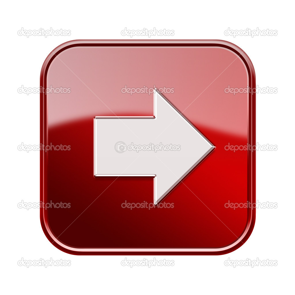 Arrow right icon glossy red, isolated on white background — Stock Photo #16796891