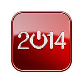 Year 2014 icon glossy red, isolated on white background — Stock Photo