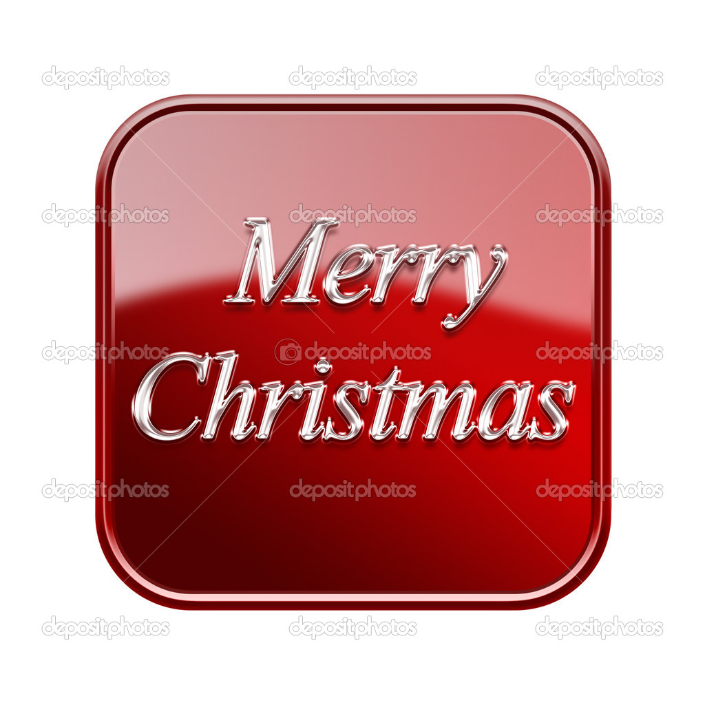 Merry Christmas icon glossy red, isolated on white background — Stock Photo #16929455