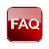 FAQ icon glossy red, isolated on white background — Stock Photo