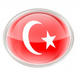 Turkey Flag Icon, isolated on white background. — Stock Photo