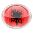 Albania Flag Icon, isolated on white background. — ストック写真