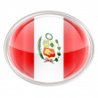 Peru Flag Icon, isolated on white background. - ストック写真