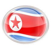 Northern Korea Flag Icon, isolated on white background. — Stockfoto