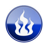 Fire icon glossy blue, isolated on white background — Stock Photo