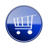 Winkelen kar pictogram glanzend blauw, geïsoleerd op witte achtergrond — Stockfoto