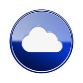Cloud icon glossy blue, isolated on white background — Stock Photo