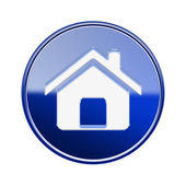 House icon glossy blue, isolated on white background — Stock Photo