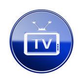 Tv symbol glänzend blau, isoliert auf weißem hintergrund — Stockfoto