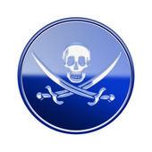 Pirate icon glossy blue, isolated on white backround — Stock Photo