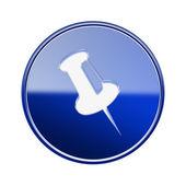Thumbtack icon glossy blue, isolated on white background. — Stock Photo