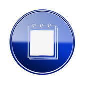 Notebook icon glossy blue, isolated on white background — Stock Photo