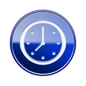 Clock icon glossy blue, isolated on white background — Stock Photo