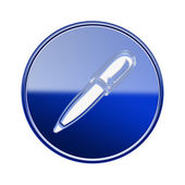 Pen icon glossy blue, isolated on white background — Stock Photo