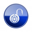 Lock on icon glossy blue, isolated on white background. — Stockfoto