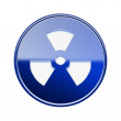 Radioactive icon glossy blue, isolated on white background. — ストック写真