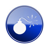 Bomb icon glossy blue, isolated on white background — Stock Photo