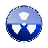 Radioactive icon glossy blue, isolated on white background. — Stock Photo