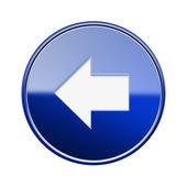 Seta à esquerda do ícone azul brilhante, isolado no fundo branco — Foto Stock