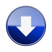 下矢印アイコン光沢のある青、白の背景に分離 — ストック写真