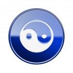 Yin yang symbol icon glossy blue, isolated on white background. — Stock Photo