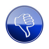 Thumb down icon glossy blue, isolated on white background. — Stock Photo
