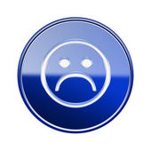 Smiley Face dissatisfied icon glossy blue, isolated on white bac — Stock Photo