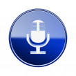 Microphone icon glossy blue, isolated on white background — ストック写真