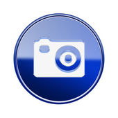 Camera icon glossy blue, isolated on white background — Stock Photo