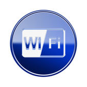 WI-FI icon glossy blue, isolated on white background — Stock Photo
