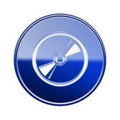 コンパクト ディスク アイコンの光沢のある青、白の背景に分離 — ストック写真